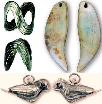 Silver finger rings, brown bear tooth talisman, and silver bird pendants from the Zidovar hillfort